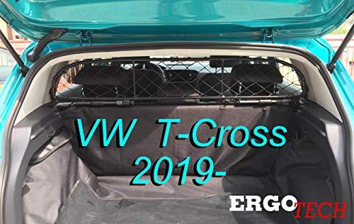 ERGOTECH Trennnetz Trenngitter für Volkswagen T-Cross RDA65-HXXS16, für Hunde und Gepäck. Sicher, komfortabel für Ihren Hund, garantiert!