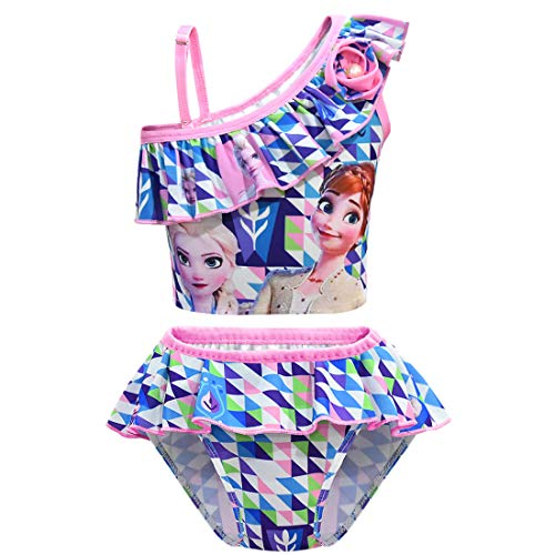 N /A Girls Swimsuit Princess Bathing Suits for Kids Swimwear Bikini Set for Swimming Beach Party Gift (Blue, 4-5T)