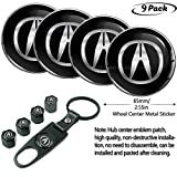 U/B 9pcs,65mm fit Acura Emblem Badge Sticker Wheel Hub Caps Centre Cover +Tire Valve Stem Caps Cover for Acura+Acura Keychain (fit Acura Center Caps 5)