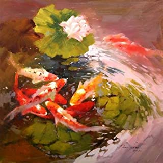 Oil Painting 'Goldfish In Lotus Pond' Printing On High Quality Polyster Canvas , 24x24 Inch / 61x61 Cm ,the Best Nursery Decor And Home Gallery Art And Gifts Is This High Resolution Art Decorative Canvas Prints