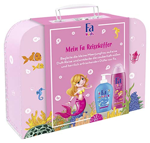 Fa cadeauset Kids meisjes 250 ml douchegel & shampoo, 250 ml kinderzeep met coole reiskoffer, 500 ml