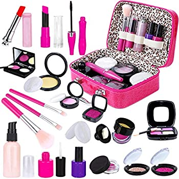 INNOCHEER Kids Pretend Makeup Kit with Cosmetic Bag for Girls 3-10 Year Old - Toy Makeup Set for Toddlers Little Girls Party Game Christmas Birthday Gifts  Not Real Makeup
