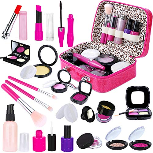 INNOCHEER Kids Pretend Makeup Kit with Cosmetic Bag for Girls 4-10 Year Old - Including Pink Brushes, Eye Shadows, Lipstick, Mascare, Gittler Pot, Liquid Foundation, Nail Polish and More