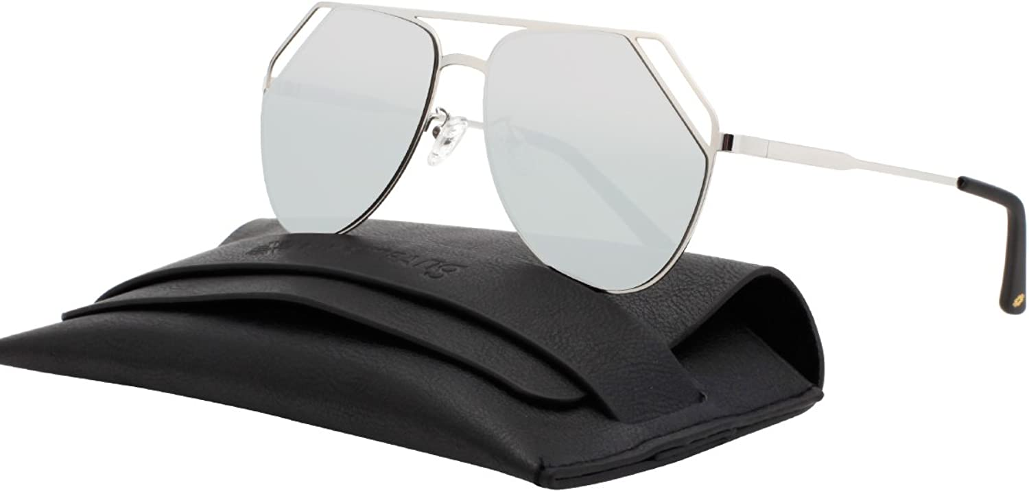 VIVIENFANG Mirrored Flat Lens Aviator Sunglasses Cut Out Metal Frame Sunglasses For Unisex 87554