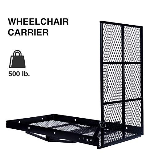 JJY Trailer Hitch Folding Carrier for Wheelchair Scooter Disability Mobility Rack w/Loading Ramp - 400 lbs Weight Capacity