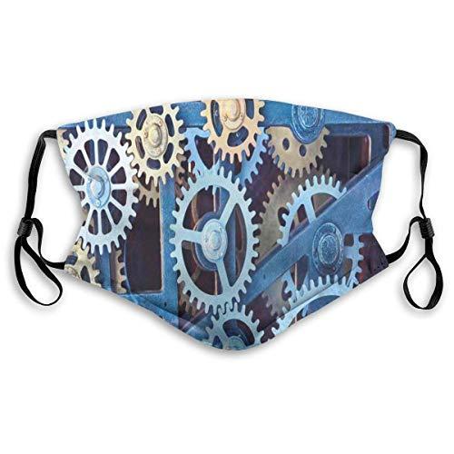 Máscara a Prueba de Viento, Tecnología Engranajes de Reloj Patrón de Ruedas dentadas de Acero Diseño de Tema mecánico Imprimir