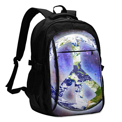 asfg Resistente a las manchas World Peace Image Multifunctional Personalized Customized USB Backpack, Student School Outdoor Backpack,Travel Bag Laptop Bookbags Business Daypack.
