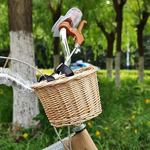 Verdelife Cesta de Mimbre de Bicicleta, Cesta Delantera de Bicicleta de Mimbre Tradicional Hecha a Mano Retro Accesorios de Bicicleta con Correas de Cuero, para Niños Bicicleta (L)
