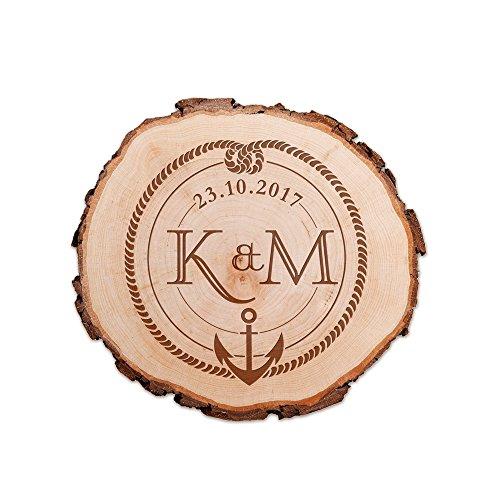 Casa Vivente Baumscheibe aus echtem Holz mit Rinde und Gravur für Paare, Motiv Anker und Knoten, Personalisiert mit Namen und Datum, Durchmesser ca. 16 cm