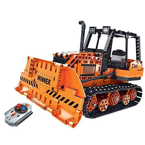 Modbrix RC Technik Bausteine Bulldozer Planierraupe 2,4 Ghz RC Bagger mit Power Funktion, Konstruktionsspielzeug mit 775 Technik Teile