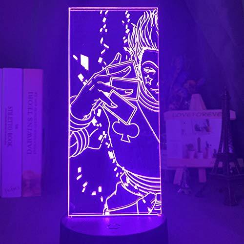 3D Nachtlicht Acryl 3D Nachtlicht Led Farbwechsel Nachtlicht Für Kinder Schlafzimmer Dekoration Licht Anime Hunter X Hunter Hisoka Lampe Gift-16_Color_With_Remote