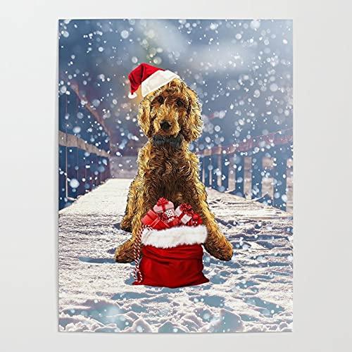 Xpboao Pintar por números - Perro Copo de Nieve Animal-Navidad - Lienzo de Lino Pintura al óleo Pintura de Arte Moderno - para Adultos Niños Principiantes - 40x50cm - Sin Marco