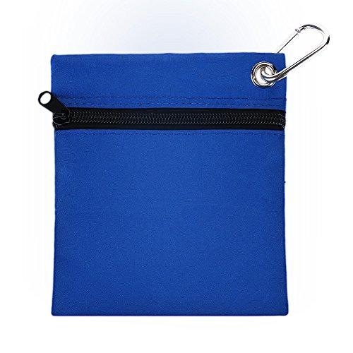 Golf Tee Tasche Beutel Mini Golf Ball Halter Aufbewahrungstasche, Reißverschluss Golf T Balltasche Halter mit Karabiner Golf Zubehör - Blau