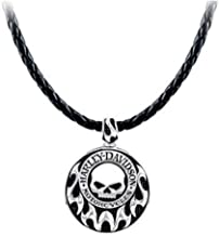 Harley-Davidson Men's Willie G Skull Tribal Necklace w/Leather Cord HDN0337-22