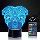 3D Night Light, Urwise Pug 3D Night Lamp, 16 Color Changing Light with Remote Control Animal Toys Bedroom Home Decor, for Boys Girls and Kids Birthday Christmas Gift 3238