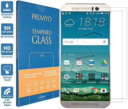 PREMYO 2 Stück Panzerglas Schutzfolie kompatibel mit HTC One M9 - Blasenfrei Transparent Anti-Kratzer 9H Härte