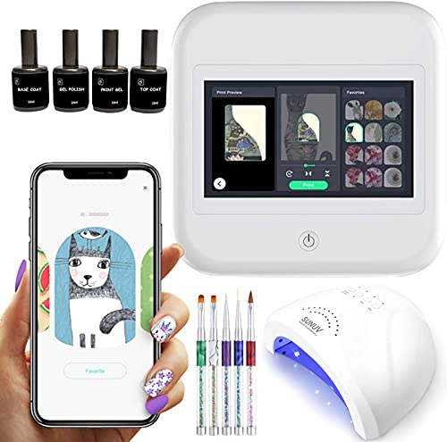 PENNY73 3D Automatic Nail Printer Touch Screen Nail Salon Manicure Set with Pack of Nail Polish Brush and Nail Dryer Lamp Over 1500 Pictures
