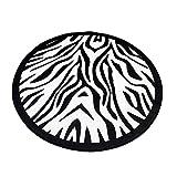 Tapis Rond Lavable en Machine 120cm, Morbuy Cerf et géométrie Interieur Anti Slip Chambre à Coucher Salon Tapis d'Entrée Absorbant Antidérapant (120cm,Zèbre Noir et Blanc)