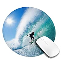 サーフ かわいい マウスパッド丸型 ステッチされたエッジ 個性的 ゴム製裏面 ゲーミングマウスパッド Pc ノートパソコン オフィス用 円形 デスクマット 滑り止め 耐久性が良い おもしろいパターン
