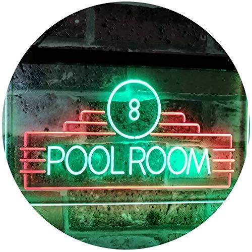 ADV PRO Pool Room 8 Ball Snooker Billiards Man Cave Dual Color LED Barlicht Neonlicht Lichtwerbung Neon Sign Grün & Rot 600 x 400mm st6s64-i2773-gr