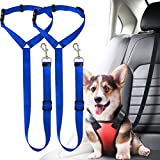 Musonic 2 Packs Dog Cat Safety Seat Belt Strap Car Headrest Restraint Adjustable Nylon Fabric Dog Restraints Vehicle Seatbelts Harness (Blue)