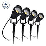 LightingWill 5W LED Landscape Lights, Warm White 3000K-3500K, Waterproof 12V COB LED Outdoor Wall Spotlight Low Voltage Garden Tree Spot Lighting with Spike Stand for Lawn,Yard,Pathways,Fence (4 Pack)