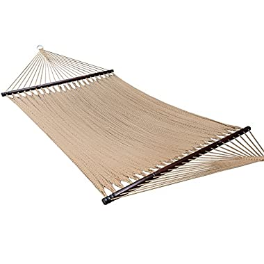 Caribbean Hammock Soft-Spun Polyester Rope for Outdoor Garden Patio,450 lbs Capacity (Brown)