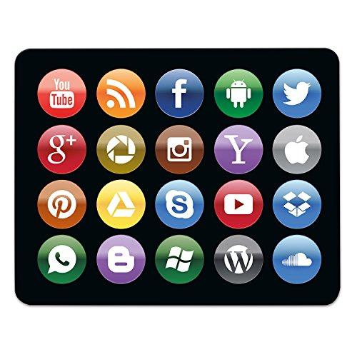 Addies Mousepad Social Media. Sehr schönes Mauspad Motiv in feiner Cellophan Geschenk-Verpackung mit Kautschuk Untermaterial, rechteckig, 240x190mm, schwarz