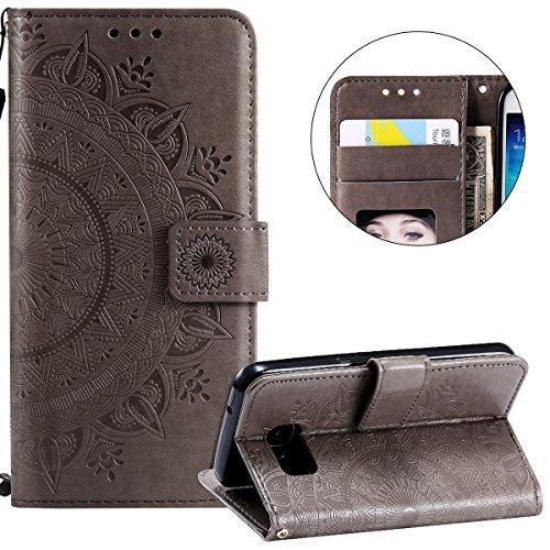 Surakey Compatible avec Coque Samsung Galaxy S7 Housse en Cuir PU Leather Etui Portefeuille à Rabat Mandala Fleur Motif Clapet Support Fermeture Flip Wallet Case pour Galaxy S7,Fleur Grise