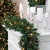 LED Pre-Lit Garland with 30 Warm White Lights Lamps with Timer Function 270 cm