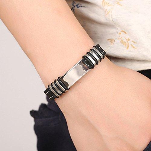 XQxiqi689sy Armband, Titanstahl, Silikon, cooler Armreif, Herrenschmuck, Geschenk Einheitsgröße Schwarz