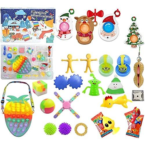 Calendario de Adviento 2021,Fidget Toy Pack 24 Days Calendario de Cuenta atrás de Navidad, Paquetes sensoriales con Push Pop-On-It Fidget Juguetes de Juguete Sorpresa Regalos para Fiesta
