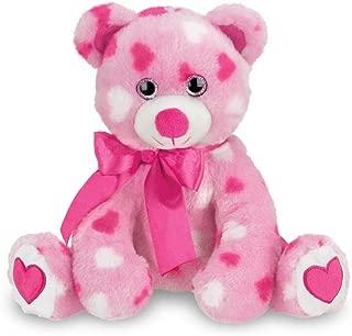 Bearington Sweetheart Pink Plush Stuffed Animal Teddy Bear with Hearts, 8.5 inches