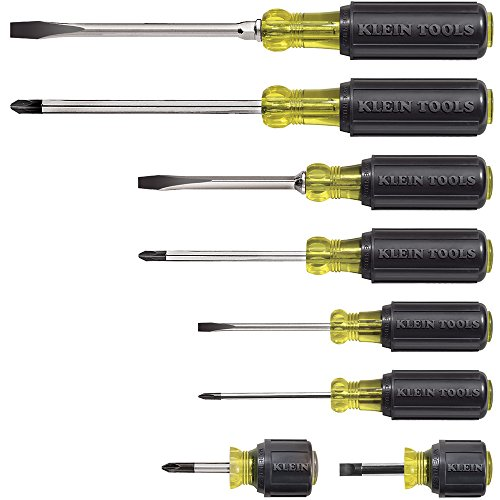 Klein Tools 85078 8 Piece Cushion-Grip Screwdriver Set, 4 Phillips and 4 Flat Head Tips