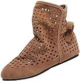 Botines Altos de Plano para Mujer Otoño Invierno 2018 PAOLIAN Botas Hueco Terciopelo Suela Blanda Militares Casual Zapatos de Señora Moda Calzado de Cuero Nobuk Dama Talla Grande