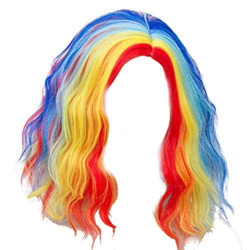 Alacos Fashion 35cm Short Curly Full Head Wig Heat Resistant Daily Dress Carnival Party Masquerade Anime Cosplay Wig +Wig Cap (Bright Rainbow Red Yellow Blue)