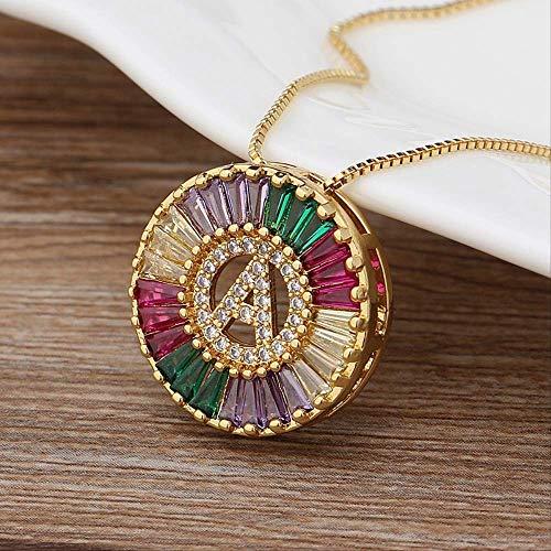 HUIHH Rainbow Gold Micro Pave CZ Cubic Zirconia AZ Iniciales Carta Collares Pendientes para Mujeres Familia Joyería Regalo N