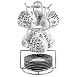 Gibson Home Expressions Espresso Saucer Set, 13PC Cups Stand, White/Black