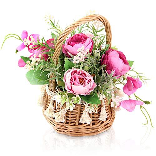 M & A Keleily Künstliche Blumen Deko Seidenblumen Künstlich Pfingstrose Künstlich mit Rattankorb und Griff Blumenstrauß Künstlich für Hochzeit, Büro, Tisch, Wohnzimmer, Schlafzimmer, Party, Rose Red