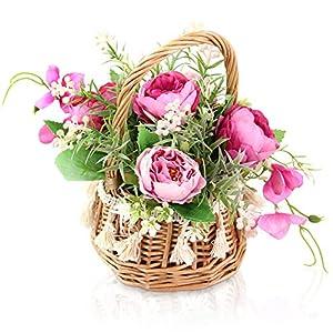 Keleily Peonias Artificiales Decoracion Flores Artificiales Cesta Centros Mesa Decorativos Flores con Cesta Mimbre…