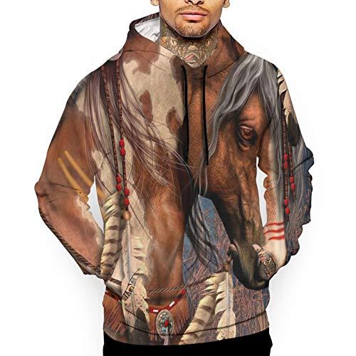 Bong6o Spirit Indian War Horse Herren Fashion Print Sweatshirts Pullover Hoodie Top Kapuzenshirts Gr. X-Large, weiß