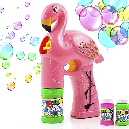 Toytykes Light-Up Bubble Gun, Bubble Blowing Blaster with 2 Bottles of Solution, Cute Bubble Blowing Toy with Colorful LEDs - Best Birthday Gift for Boys and Girls