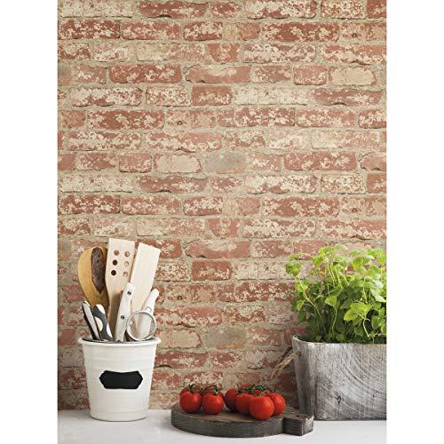RoomMates RMK9035WP Red Stuccoed Brick Peel and Stick Wallpaper