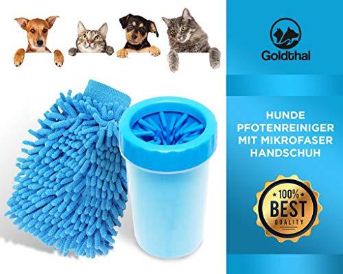Goldtha® Hunde Pfotenreiniger für große und Normale Pfoten mit Mikrofaser Handschuh schnelles Abtrocknen, schnell und gründlich reinigen,weiche sanfte Reinigungsbürste massierende (groß)
