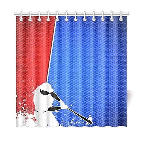 Zemivs Wohnkultur Bad Vorhang Sport Poster Baseball Player Raum Polyester Stoff Wasserdicht Duschvorhang Für Badezimmer, 72X72 Zoll Duschvorhang Haken Enthalten