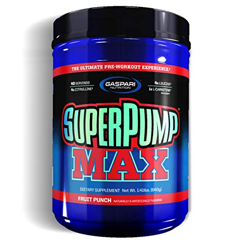 Gaspari Nutrition Super Pump Max 1 Pack x 640g - Pre-Workout Supplement - Energy, Stamina and Focus - with Caffeine and Amino acids - Full of Vitamins and Minerals (Fruit Punch)