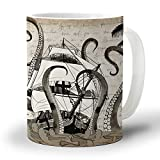 Ceramic Coffee Mug 12 Oz Retro Pirate Ship Octopus Animal Pattern Large Handles Cup for Tea/Milk/Cocoa| Home and Office Use| Gift for Man/Women