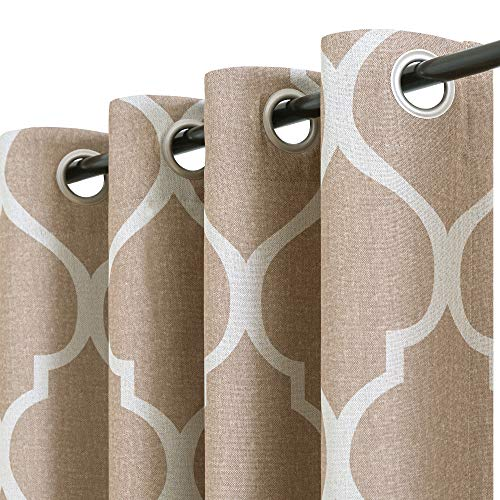 """jinchan Linen Textured Curtains Moroccan Tile Design Blackout Curtains for Bedroom Living Room Thermal Insulated Window Treatment 1 Panel 63"""" L Taupe"""