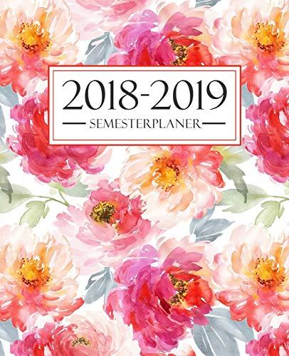 Semesterplaner 2018-2019: Oktober 2018 – September 2019: 19 x 23 cm:  Blumenmuster 4220