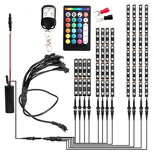 Led Lichterkette,12 Stück Motorrad RGB LED Strip Kit Unterlichter mit 2 Fernbedienungen